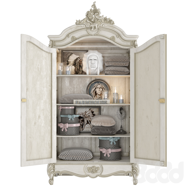 FRENCH ARMOIRE NORMANDY 2 DOOR MIRRORED (Vray & Corona)