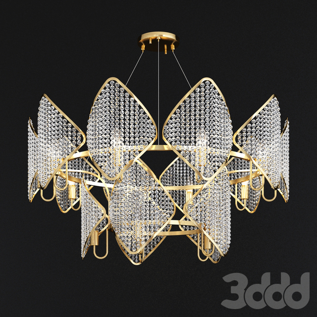 Ritz - Crystall Leaf Chandelier 15 gold