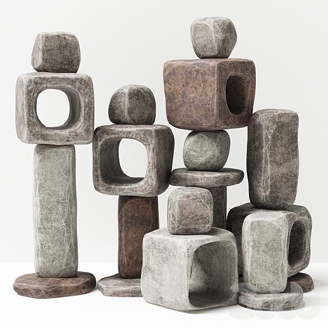 Каменный кубический светильник