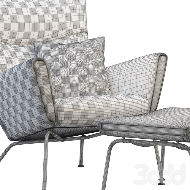 CH445 Wing Chair and ottoman