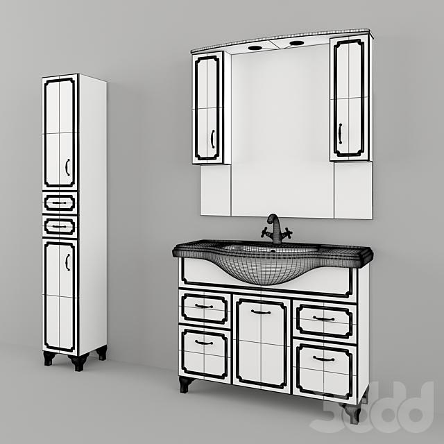 Мебель для ванной производства Какса-А / Патина Темно-серая 1050