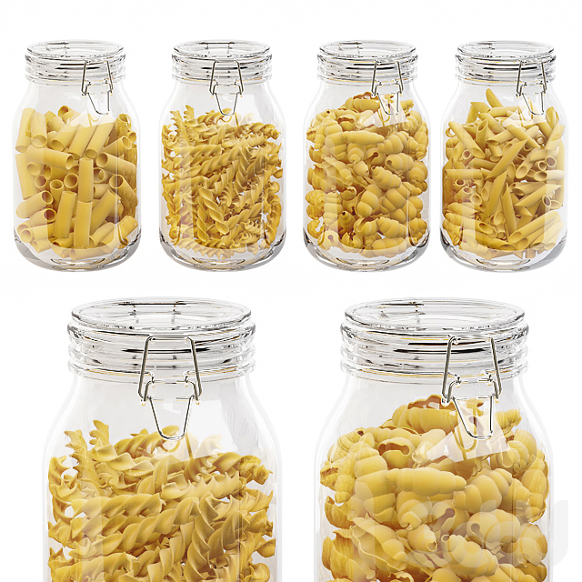 Kitchen glass jars set with original pasta