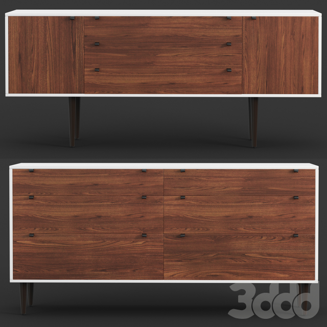Envelo Collection Walnut Sideboard and Double dresser