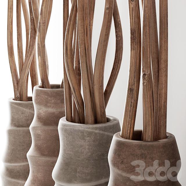 Ветки сухие в фигурных вазах