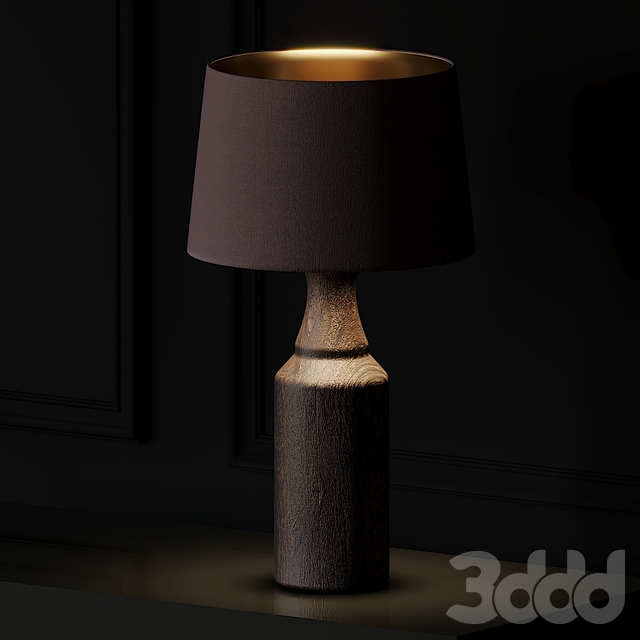 Pair of Lamps with Wood Foot and Brown Lampshade