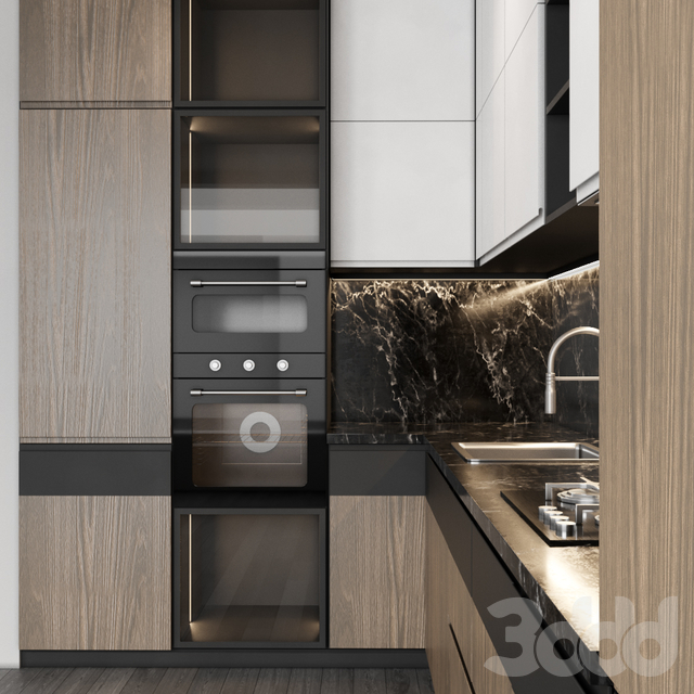 Modern kitchen with wood facades