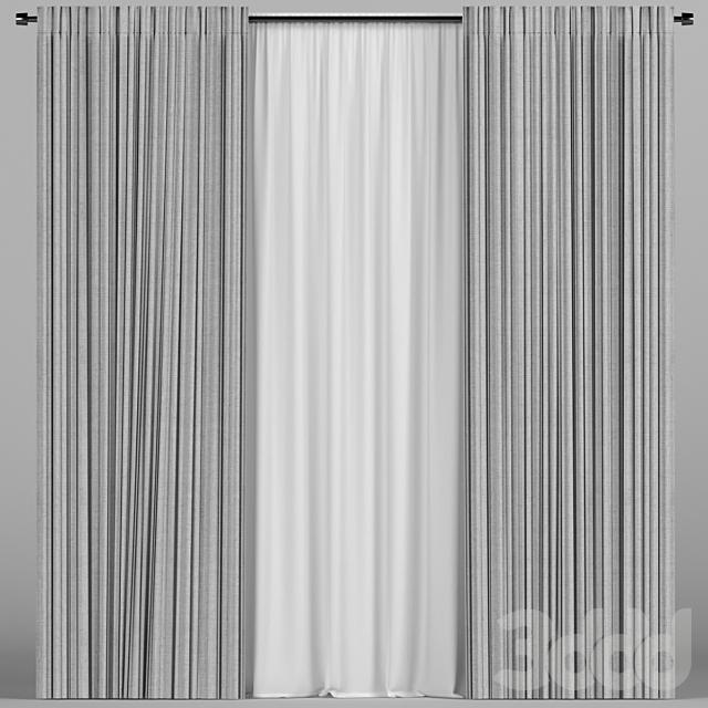Серые шторы с тюлем.