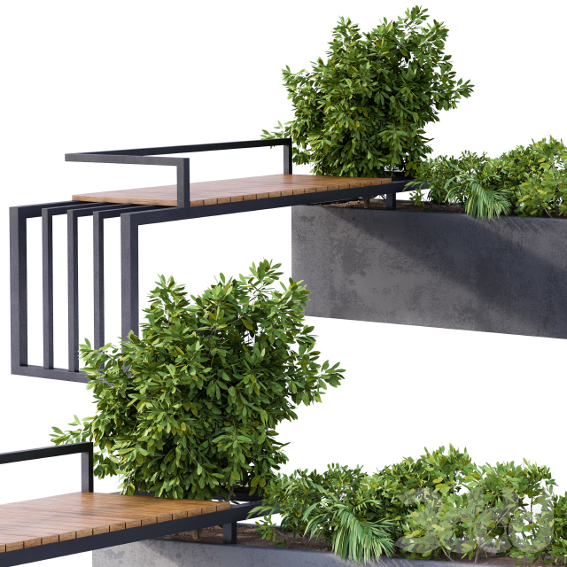Landscape Furniture/Architecture Bench with Plants Box
