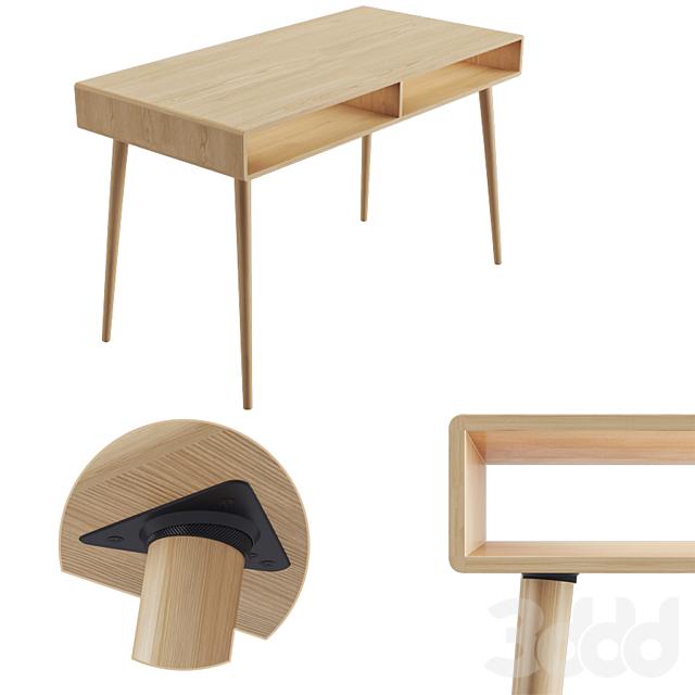 Modern Oak Desk with Open Cubbies