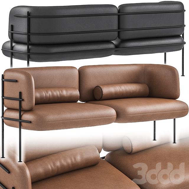 Wire Minimal Sofa Black Taba Leather