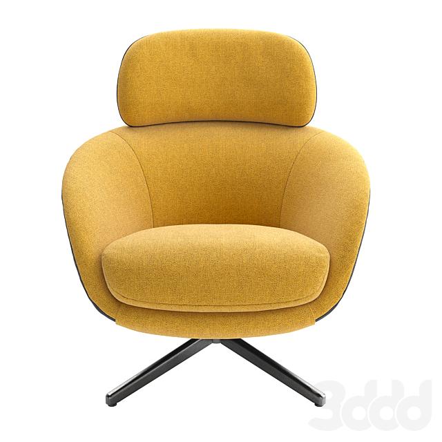 Minotti Russell Bergere Swiwel Bace Top Armchair