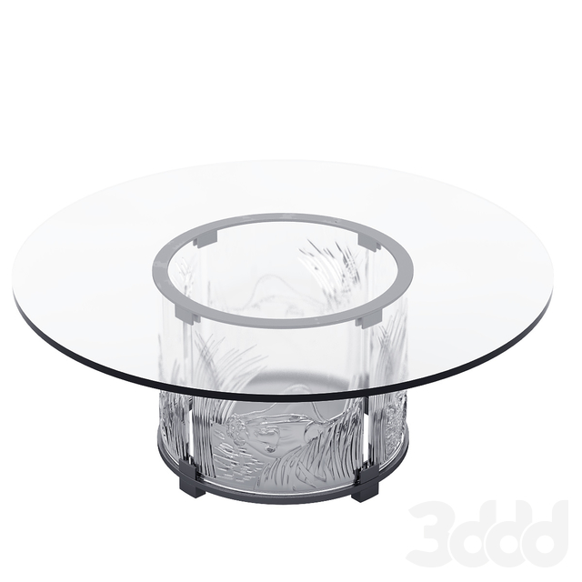 Lalique Crystal Coffee Table 3 Lions