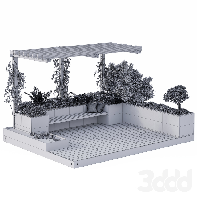 Roof Garden and Landscape Furniture with Pergola