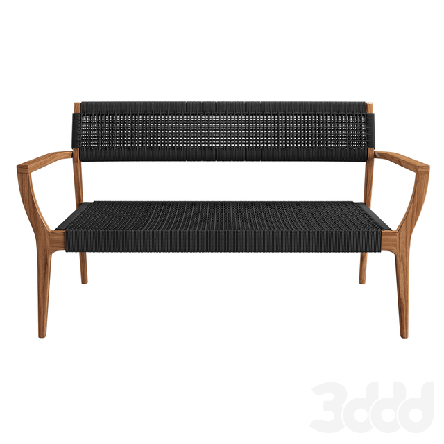 bench lounge rope woven black