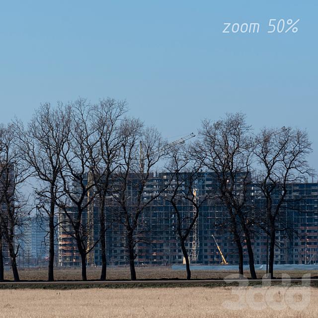Загородняя панорама на новостройки и деревья
