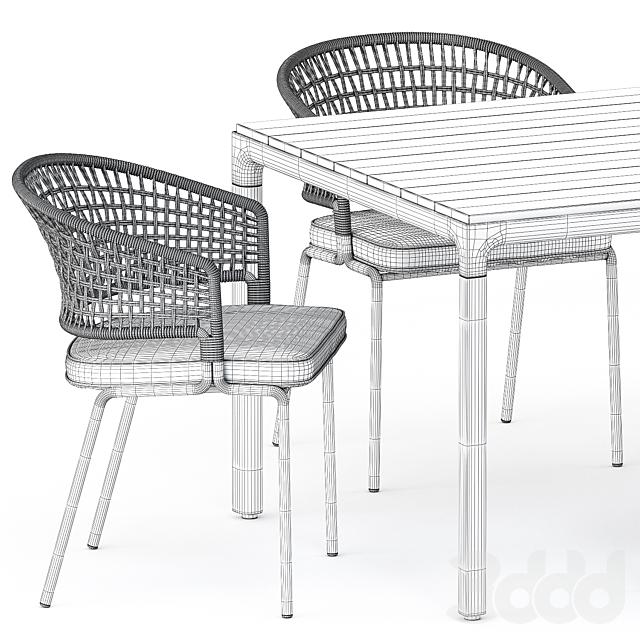ILLUM table, CTR armchair by Tribu