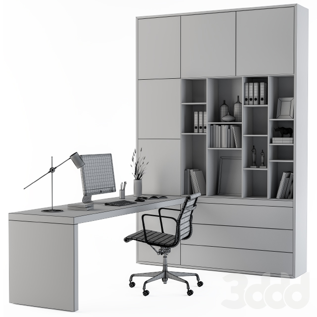 Workplace L Type Desk and Wardrobe
