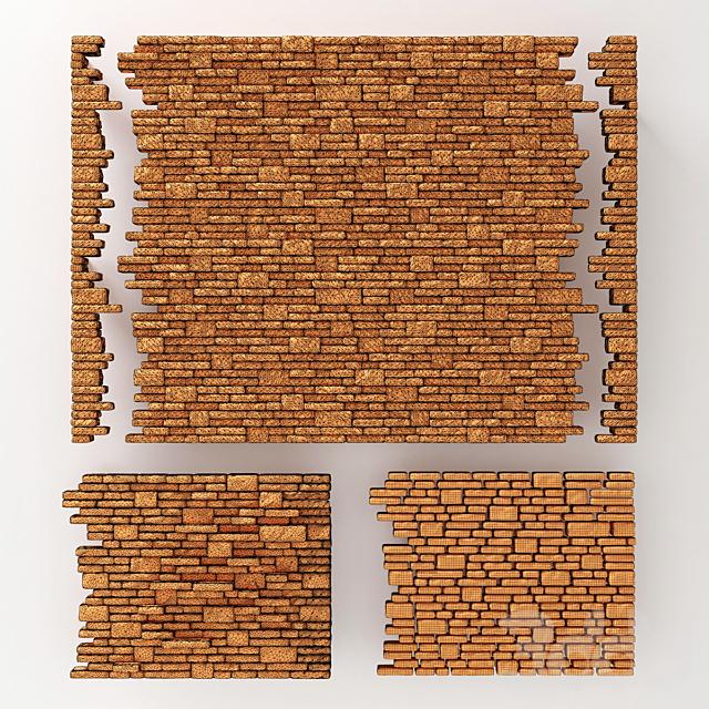 Brick stone wall block many n2