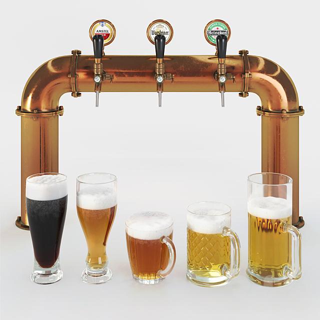 Beer tower & beer mugs