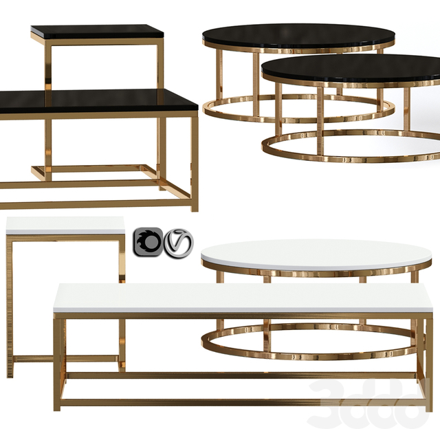 Smart Round & Rectangle Marble Coffee Table 02