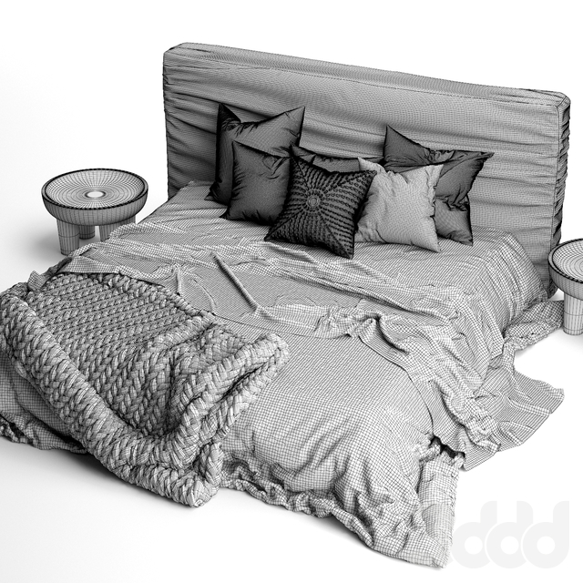 Zulu Upholstered Bed Charcoal