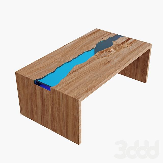 Журнальный столик из слэба | Стол-река