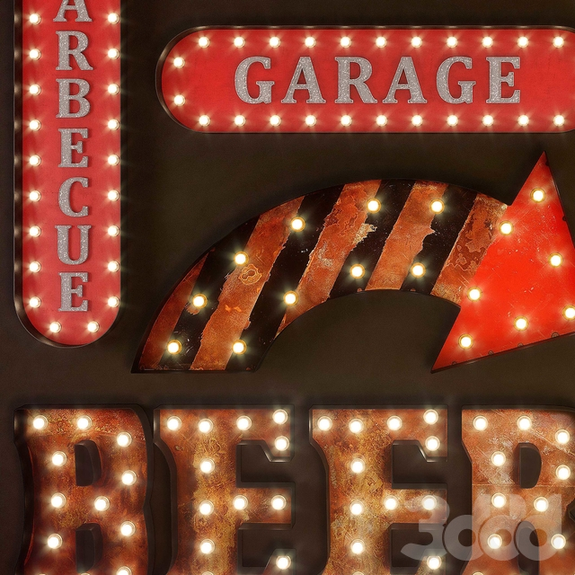 Lighted Metal sign. Set 20