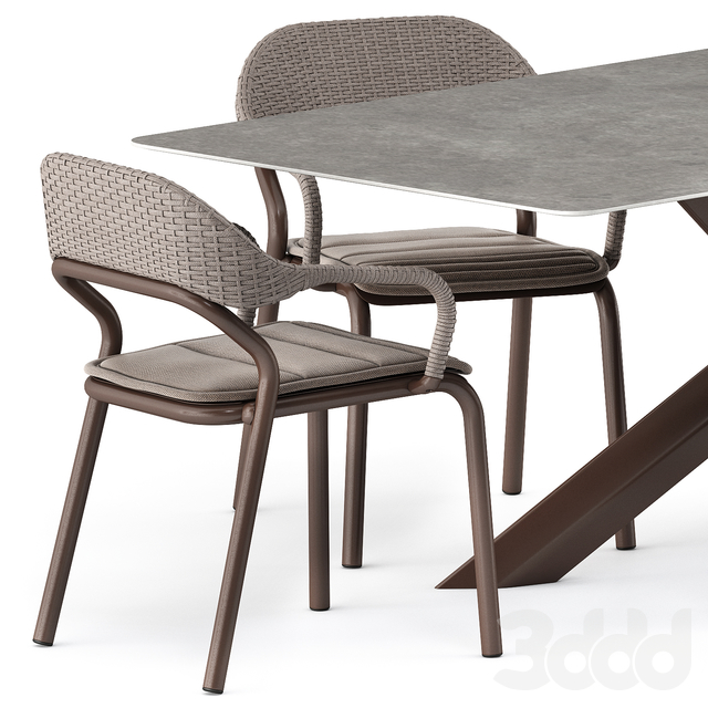 NOSS Armchair and SYSTEM STAR tavolo table by varaschin
