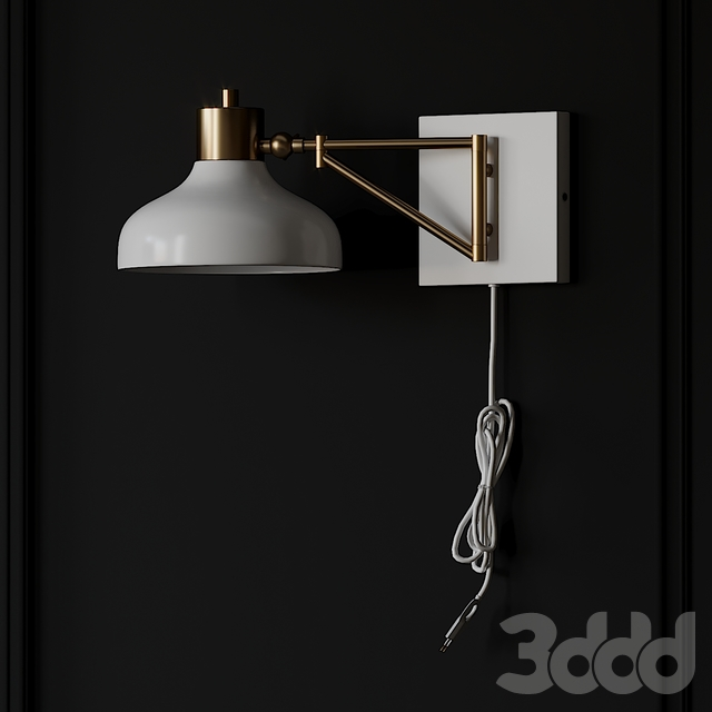 Berkeley White and Brass Plug-In or Hardwire Swing Arm Wall Sconce
