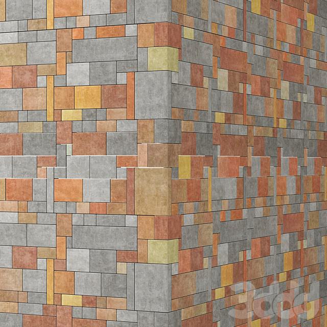 Brick big slab stone angle tile / Кирпич большой плиточный