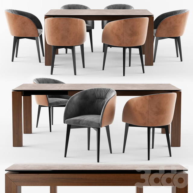 Connubia Calligaris Sigma Dining Table_ROSIE SOFT armchair
