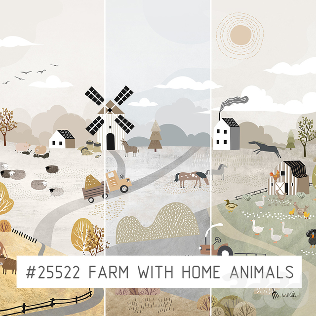 Creativille | Wallpapers | 25522 Farm with animals