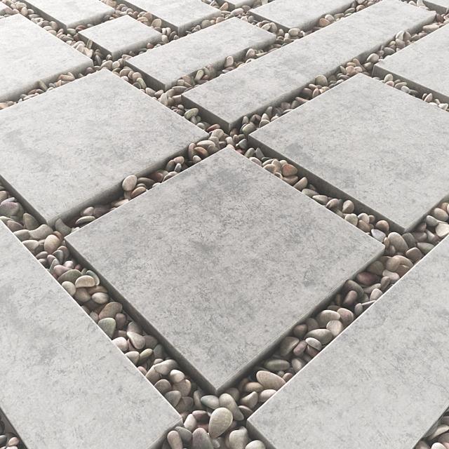 Tile square pebble  low 2 n2 / Площадь из плит с галькой №2