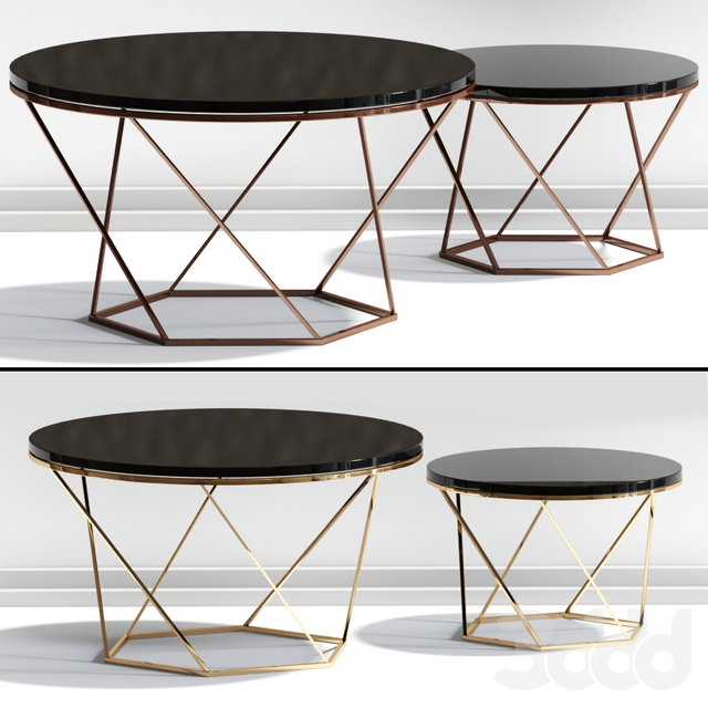 Indiskie Round Nesting Coffee Table Gold Brass