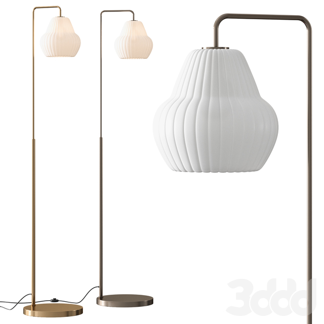 West Elm Sculptural Glass Ribbed Champagne Floor Lamp