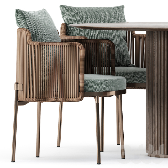 TAPE CORD chair by Minotti and PALAIS ROYAL by ASPLUND