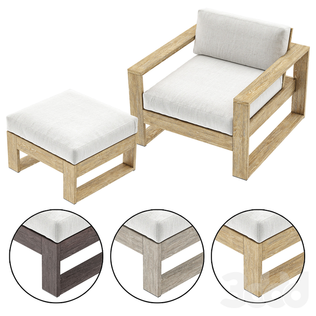 Portside Outdoor Lounge Chair with Ottoman