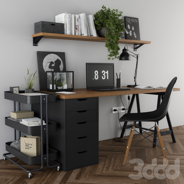 Home office ikea set Black