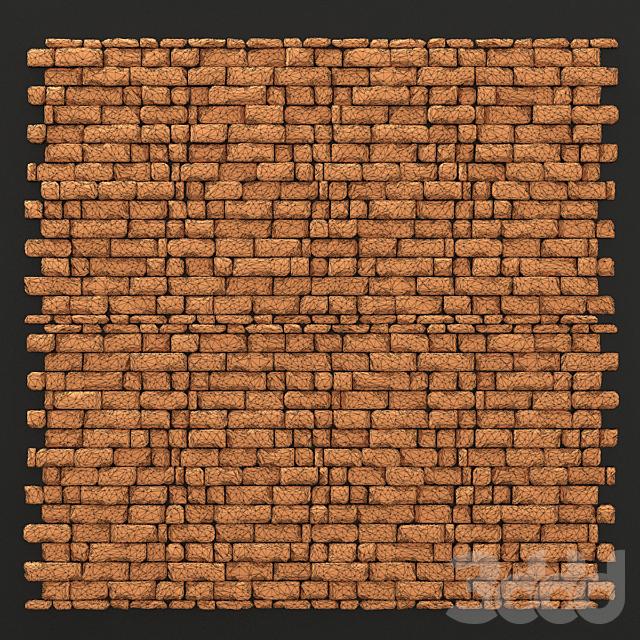 Wall brick splinter clay decor n1 / Стена из обломочного декоративного кирпичика