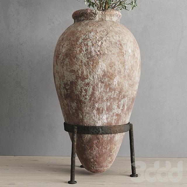 Античный сосуд и оливковая ветвь