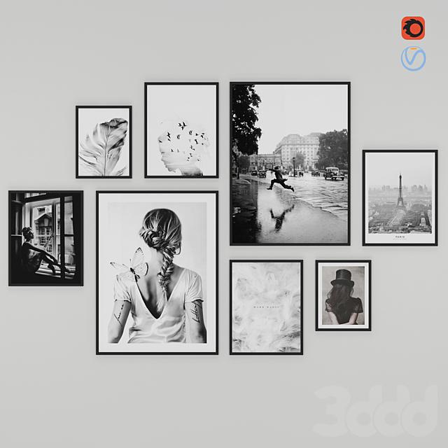 Frames Photo Modern Set 2 - Black and white