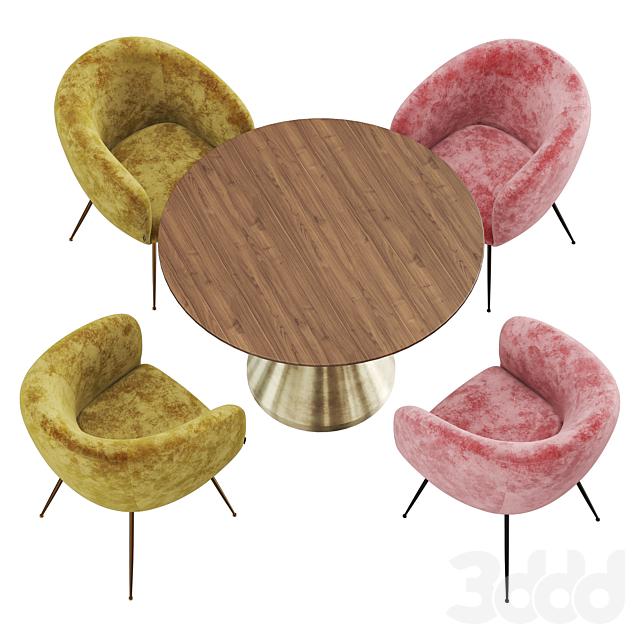 Deephouse & West elm Silhouette wood dining set