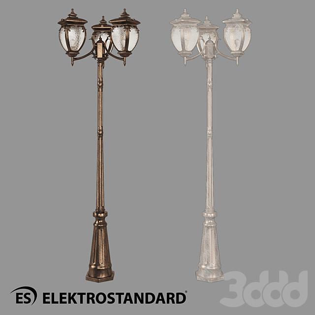 ОМ Уличный трехрожковый светильник на столбе Elektrostandard GLYF-8024F/3 Andromeda F/3