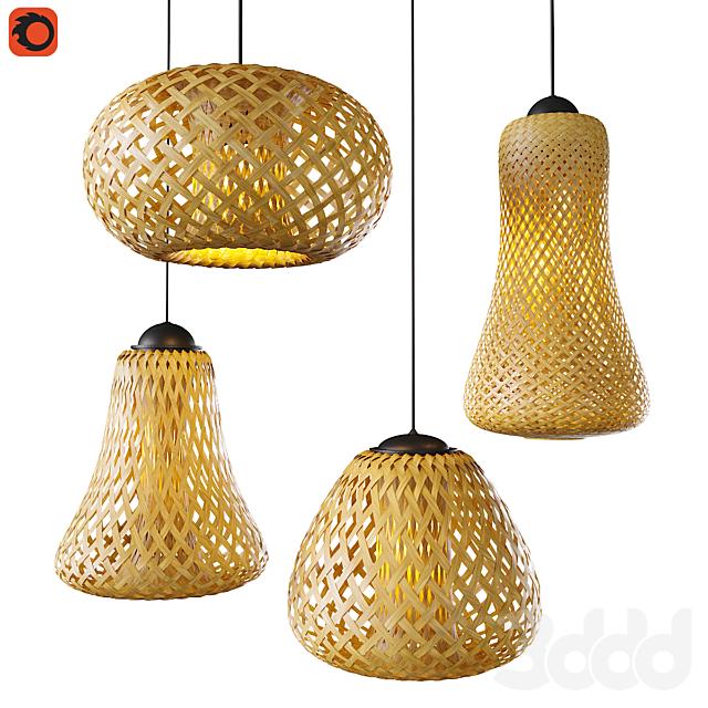 Набор плетеных светильников из бамбука_2