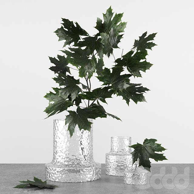 Decor set 8 witn vases by Scruf Glasbruk & Maple