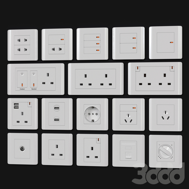 Schneider zencelo switches & sockets White