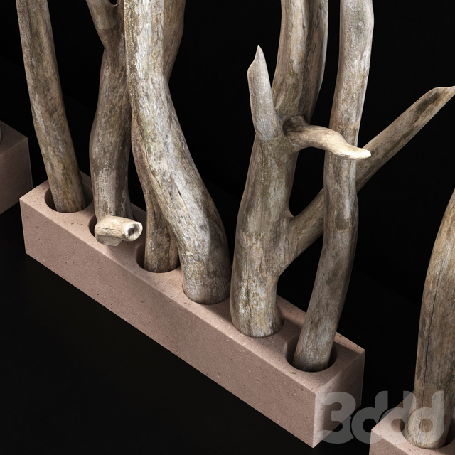 Planter wall branch crooked old n2 / Кашпо стенки из кривых старых веток