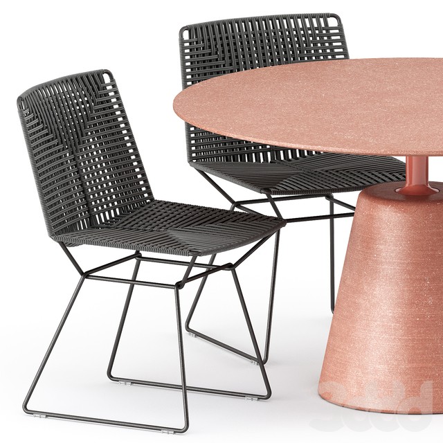 NEIL TWIST CHAIR and ROCK TABLE by Mdf Italia