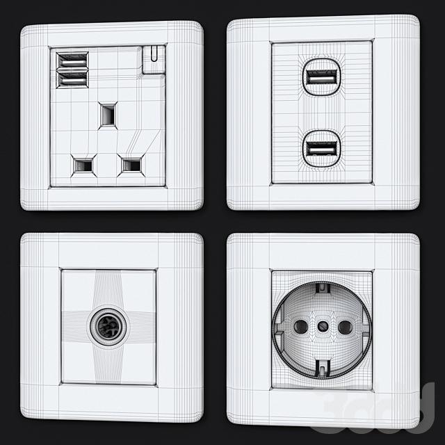 Schneider zencelo switches & sockets White