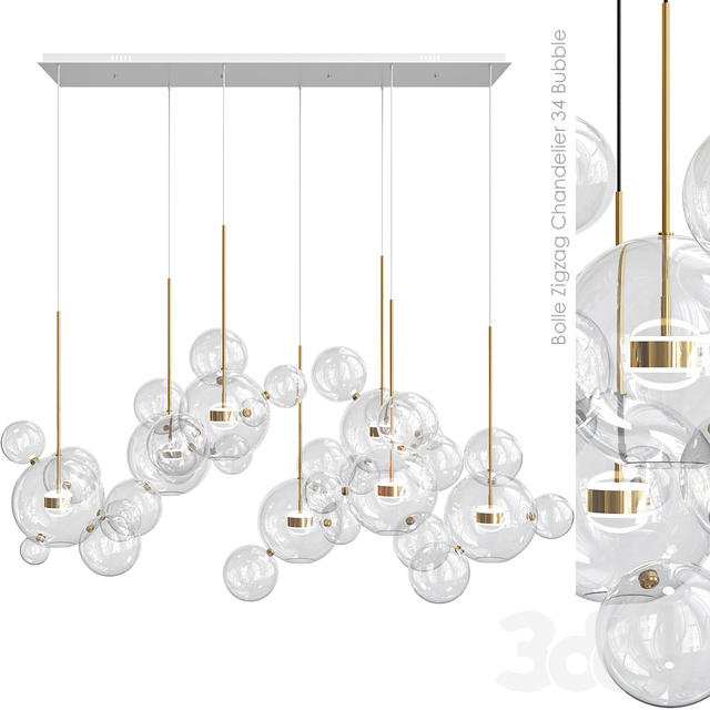 Bolle Zigzag Chandelier 34 Bubble Giopato & Coombes